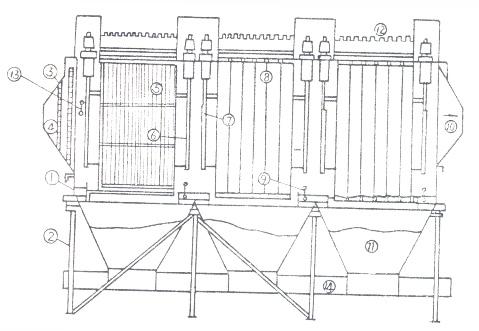 钢结构设计界面: 电除尘器的进口至除尘装置出口范围